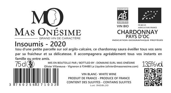 Etiquette Chardonnay blanc Mas Onésime 2020